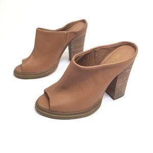 Nine West Lucky One GD Leather Mule Block Heels  7